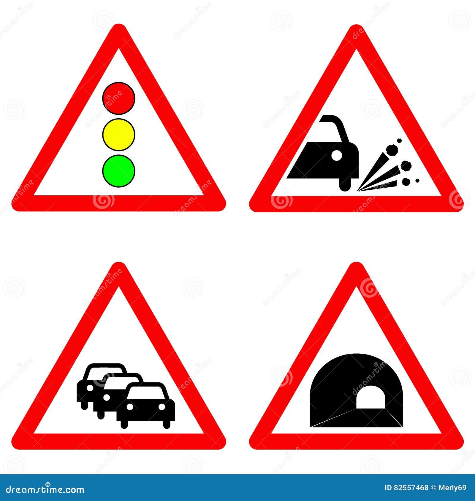 Set Of Traffic Signs Traffic Lights Gravel Road Traffic Jam