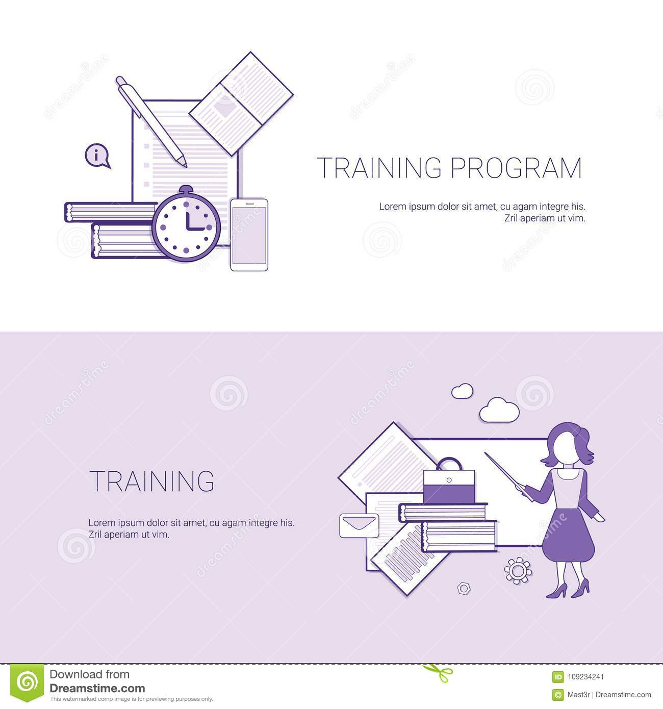 Set of training program banners business concept template background download set of training program banners business concept template background with copy space stock vector ccuart Image collections