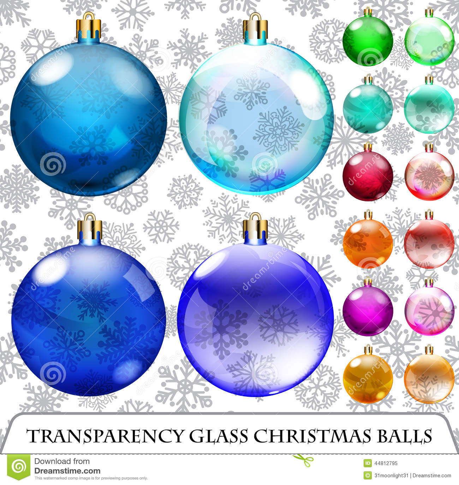 Set of transparent christmas balls stock vector image