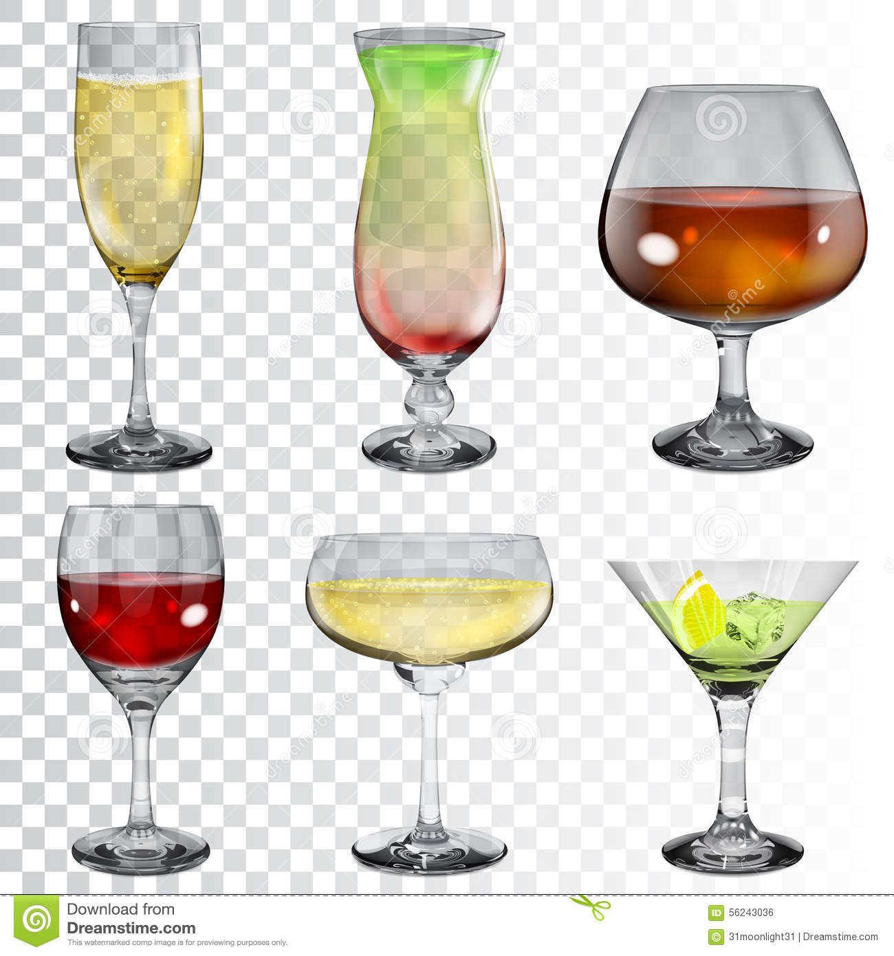 Set Of Transparent Glass Goblets With Different Drinks ...