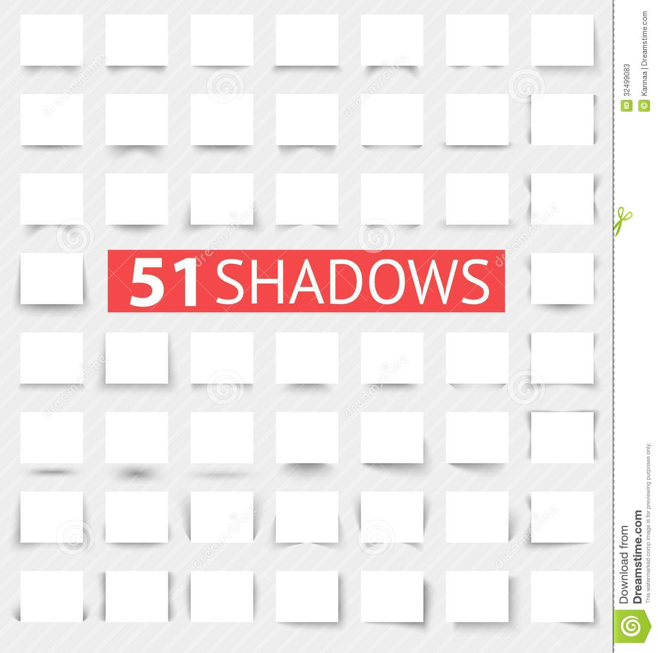 Vector Illustration Web Designs: Set Of Transparent Realistic Shadow Effects Stock Photos