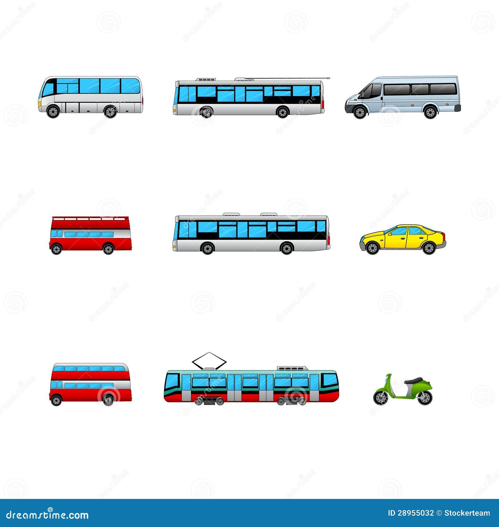 Set transport publiczny koloru ikony