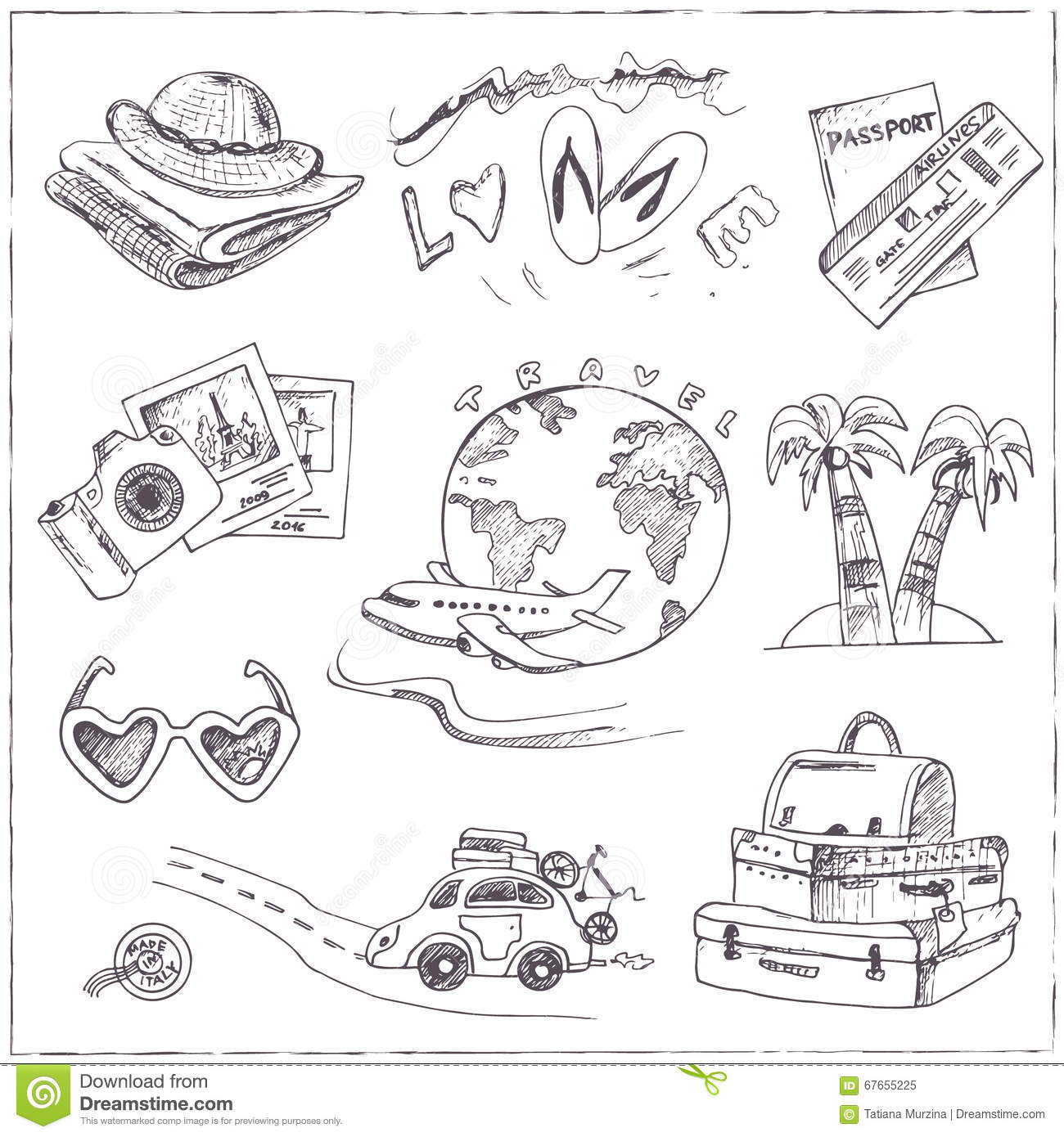 set of travel drawings sketches hand drawing stock vector