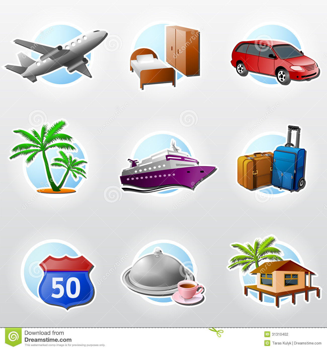 Set Of Travel Icons Stock Vector Illustration Of