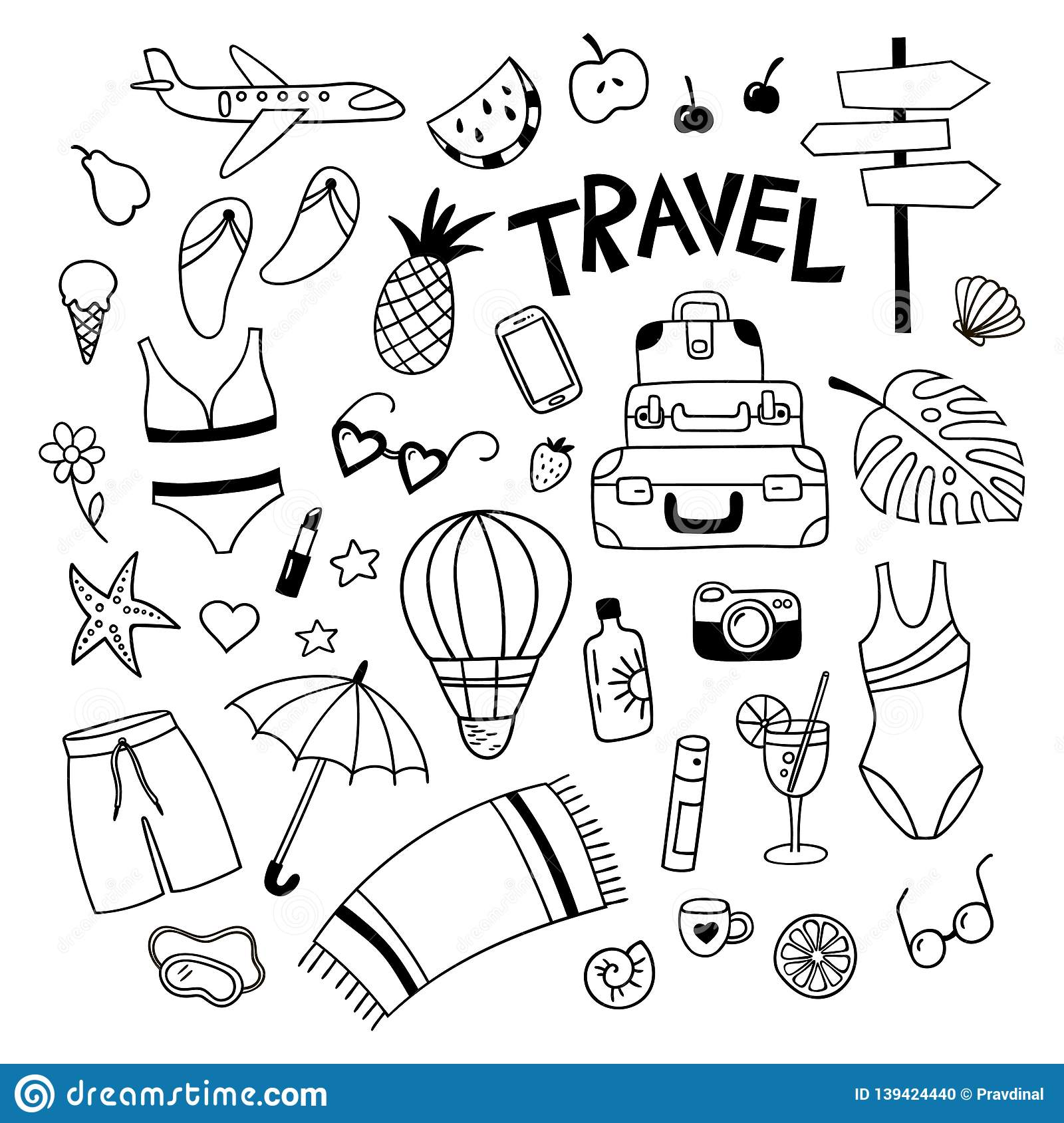 Set Of Travel Objekts In Doodle Style Hand Drawn Trip Elements Black And White Vector Clipart Stock Vector Illustration Of Beach Balloon 139424440