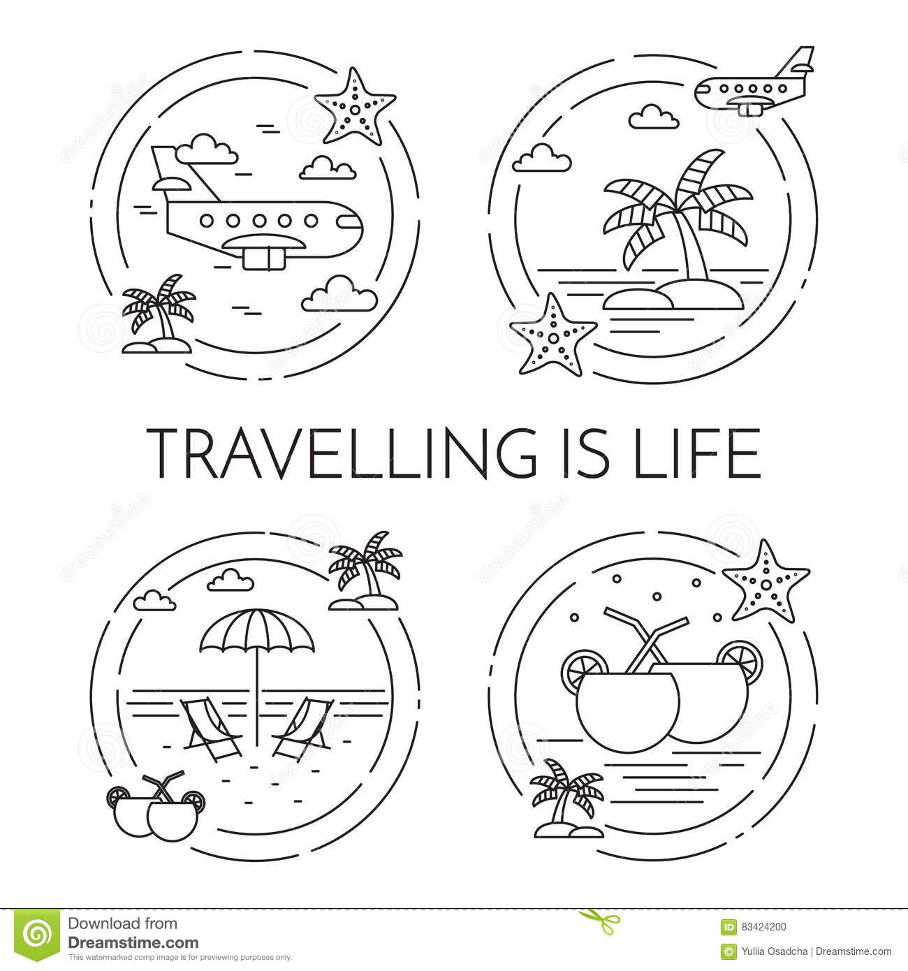 Set Of Traveling Horizontal Banners Wuth Trip Elements Line