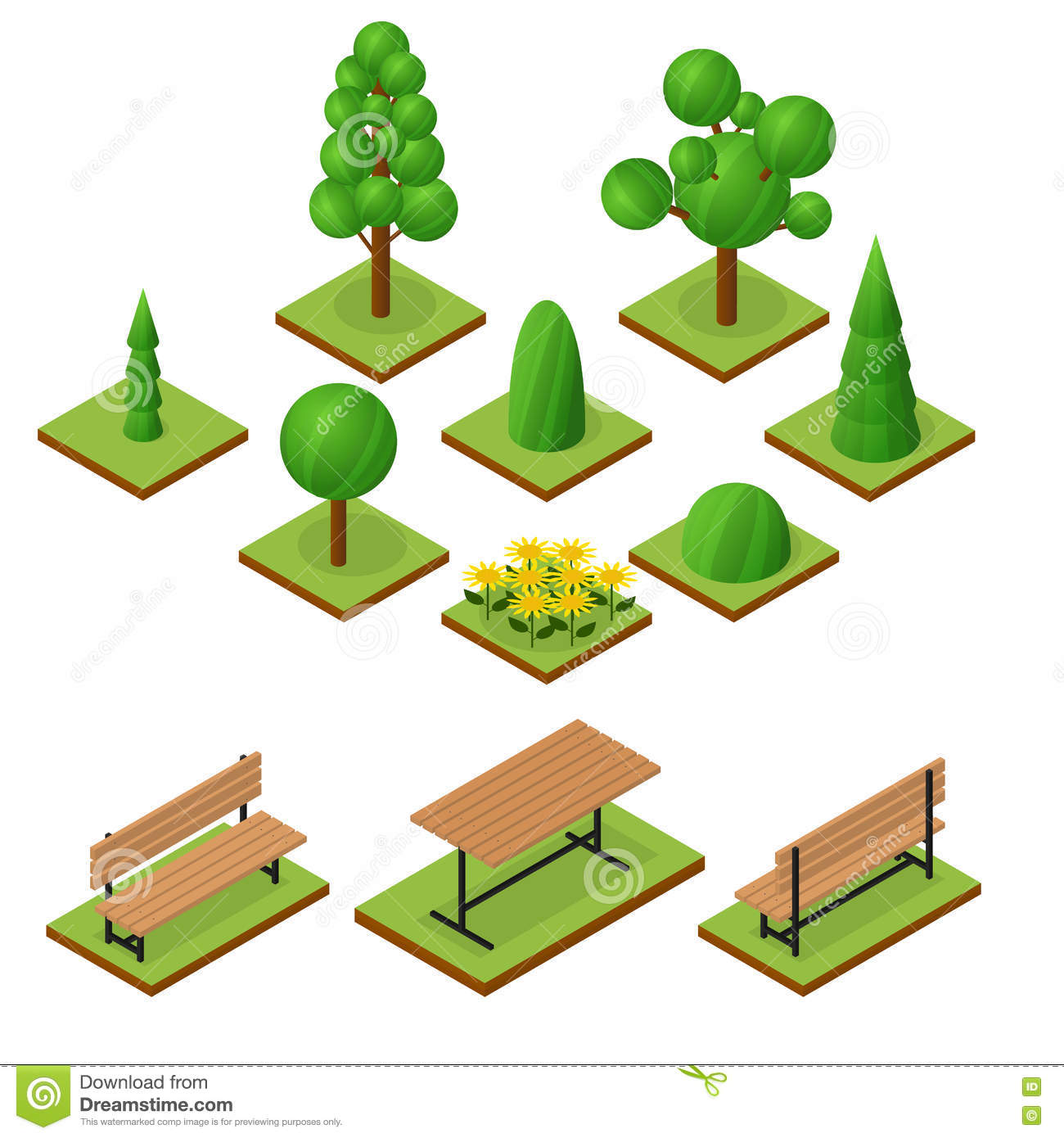 Set Of Trees And Bushes In Isometric View Stock Vector - Image: 72346567