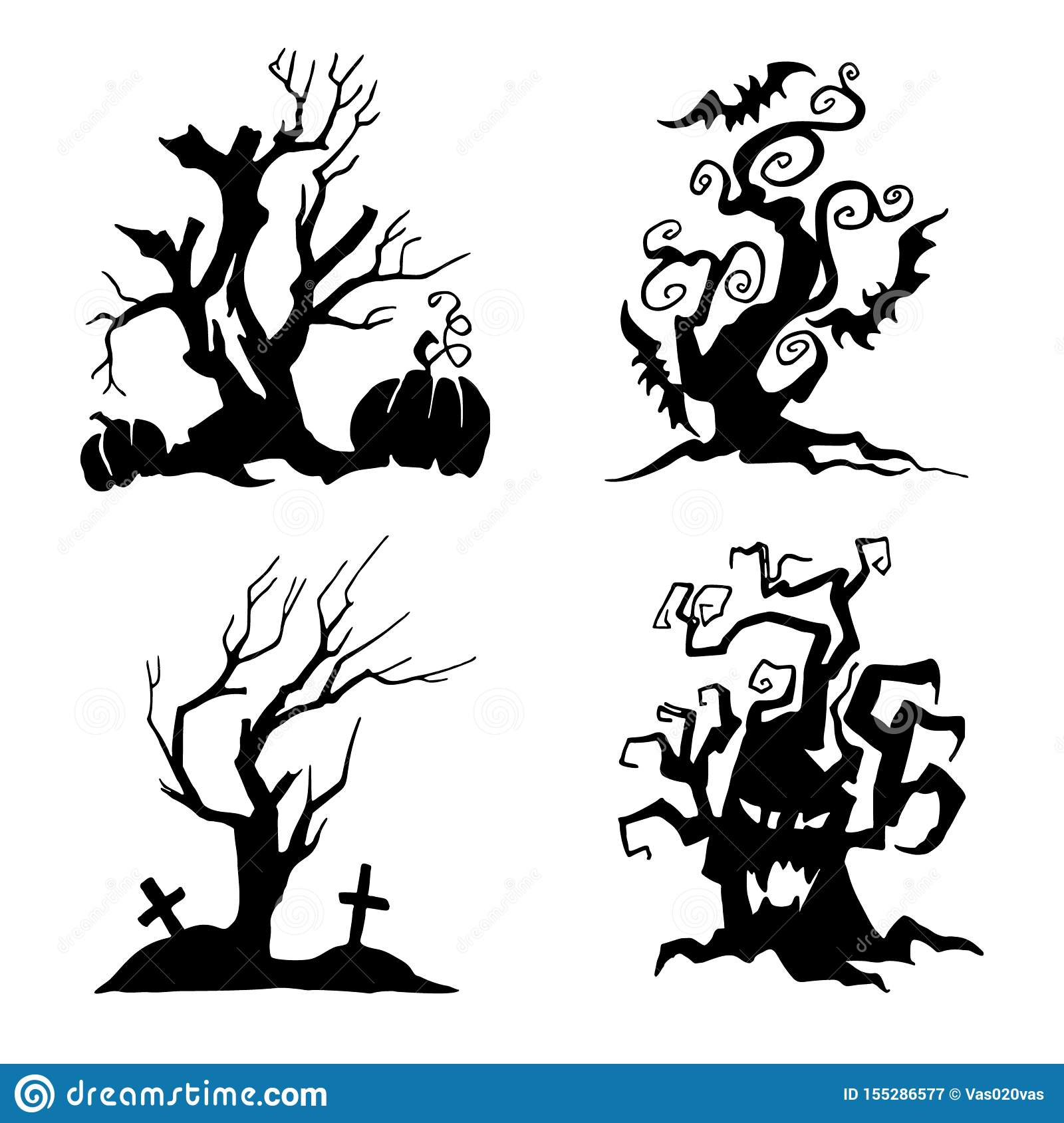 Set Of Trees For Halloween. Collection Of Halloween