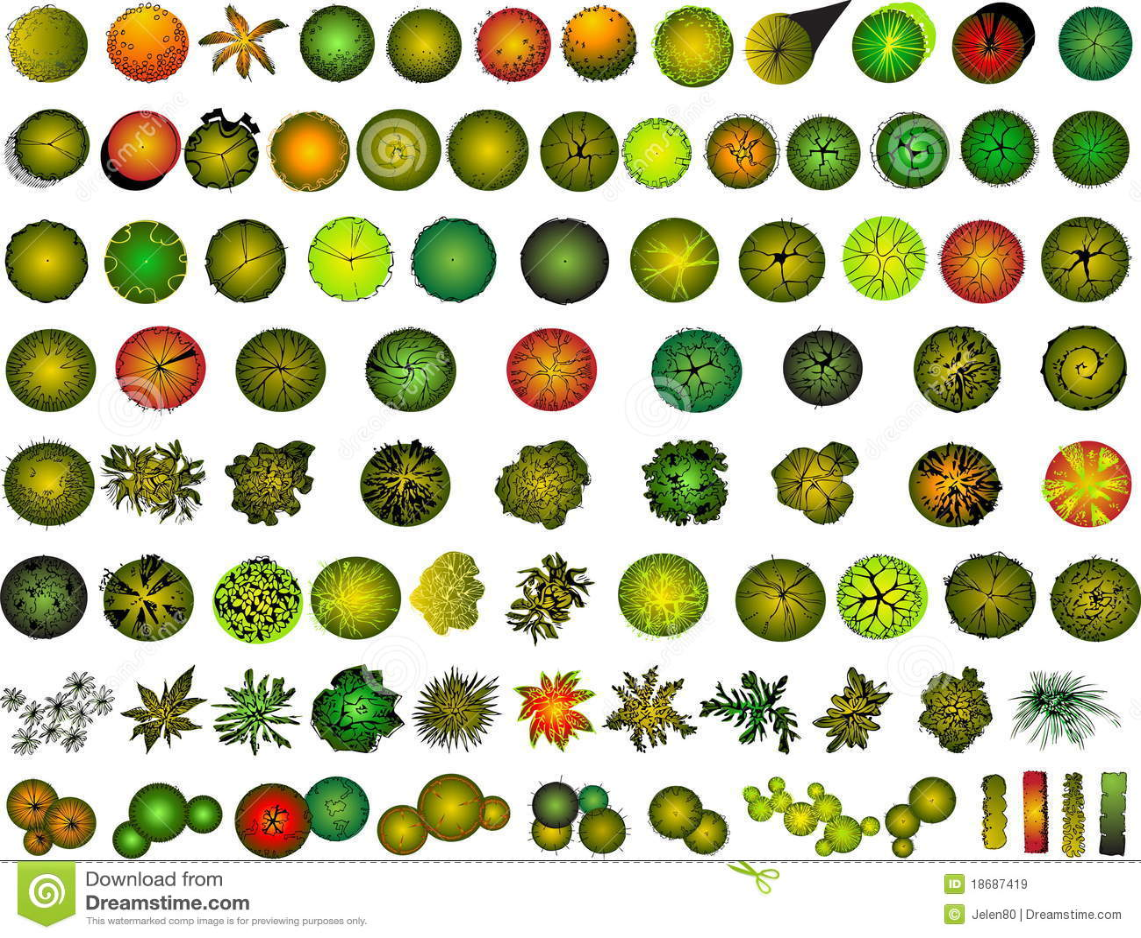 A Set Of Treetop Symbols Stock Image Illustration Of Garden 18687419