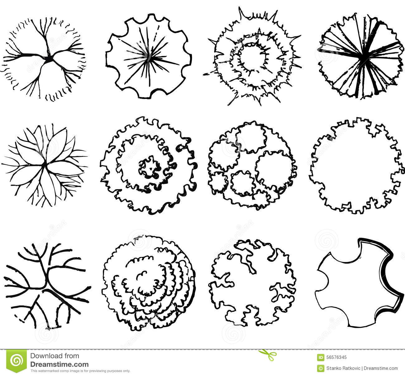 A set of treetop symbols stock illustration illustration for Garden design graphics