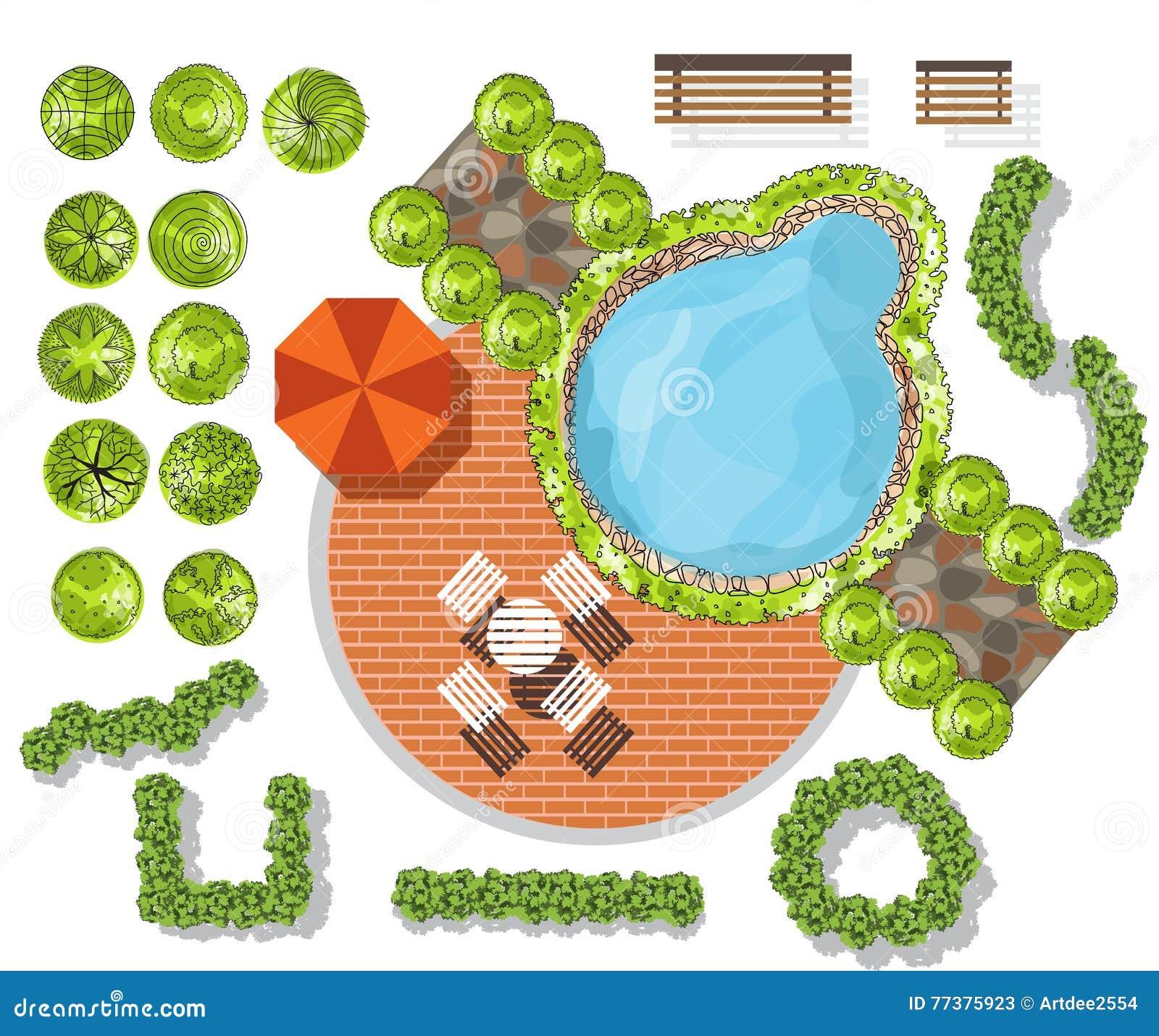 Set Of Treetop Symbols For Architectural Or Landscape Design Stock