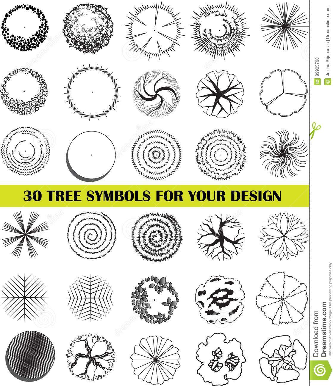 A Set Of Tree Top Symbols Stock Vector Illustration Of Garden