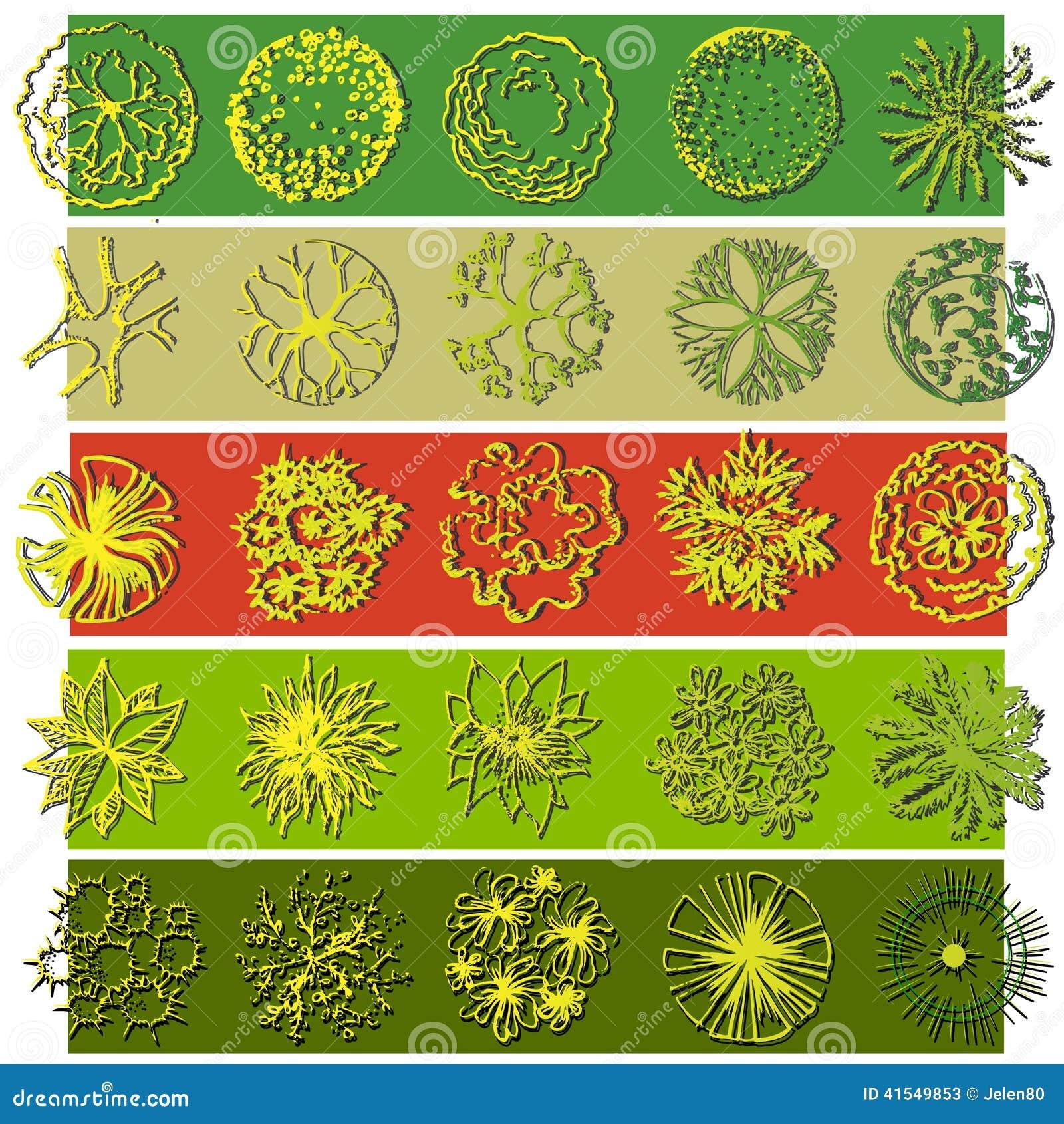 A Set Of Treetop Symbols For Landscape Design Stock Vector - Image ...
