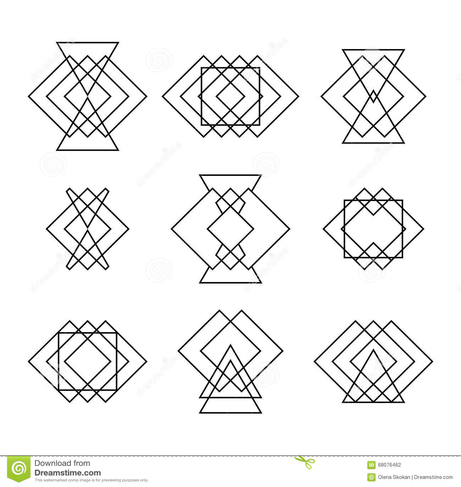 set of trendy hipster geometric shapes. ethnic tattoo. geometric