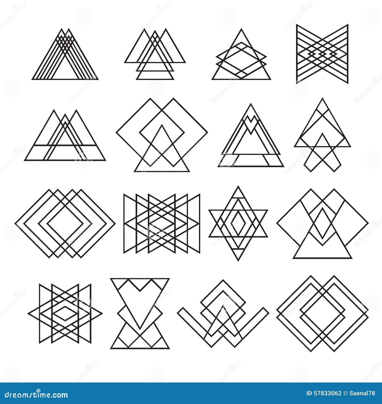 Set Of Trendy Hipster Geometric Shapes  Geometric Logotypes