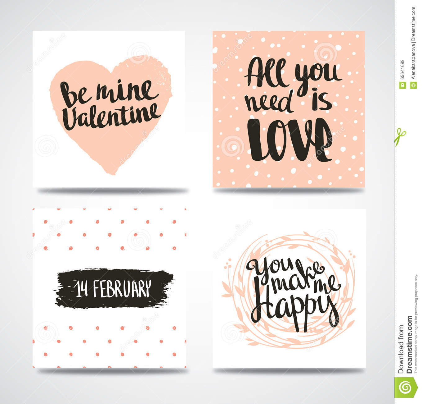 Set of trendy hipster Valentine Cards. Hand drawn vector backgrounds. Set of calligraphic headlines