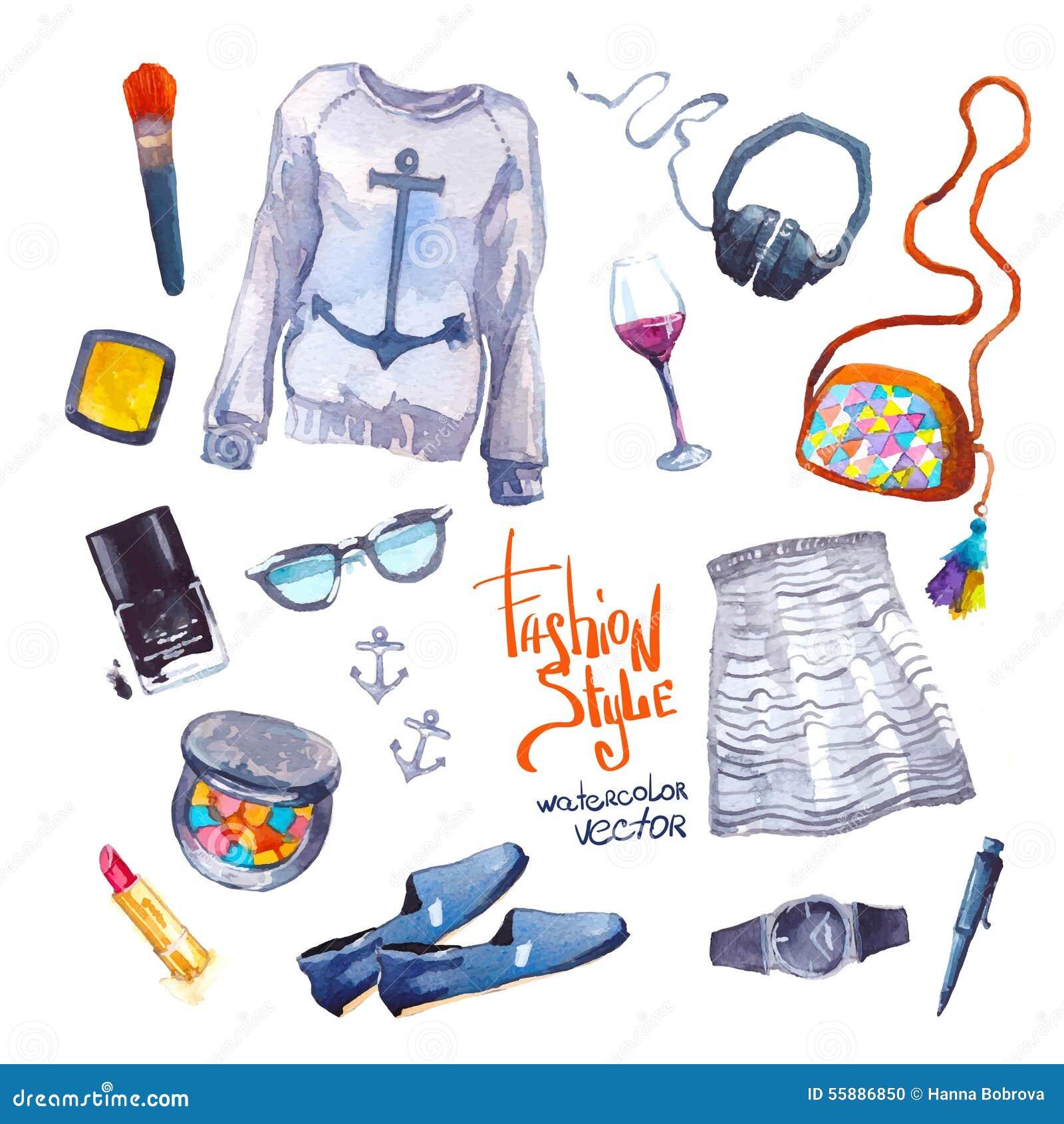 Set Of Trendy Look. Watercolor Clothes Stock Vector