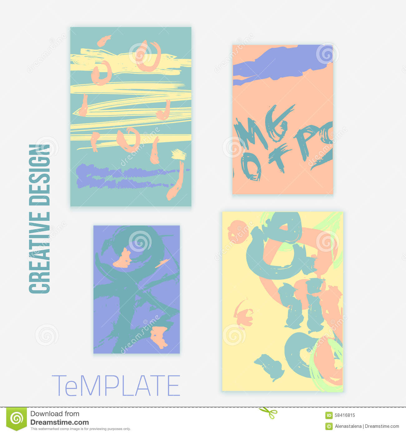 Trendy Poster Designs: Set Of 4 Trendy Poster Design Cards In Pastel Colors. Hand