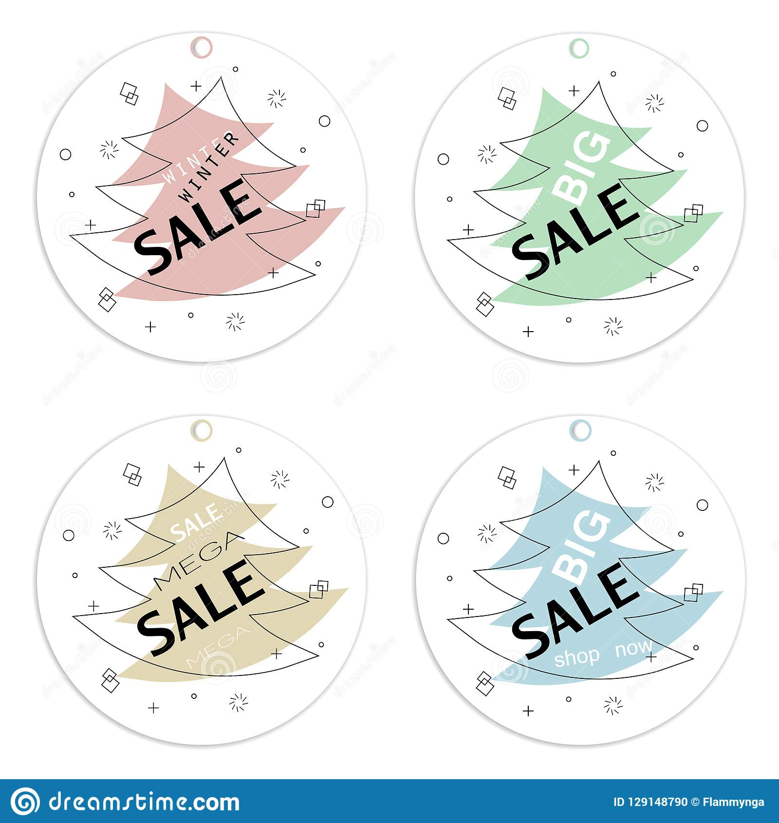 Set of trendy round flat geometric vector labels.