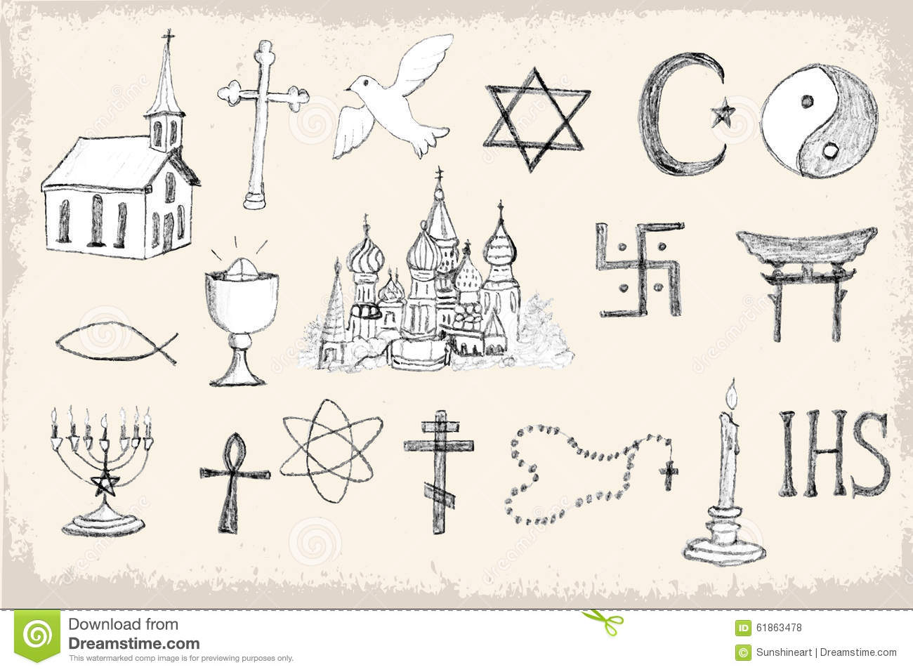 set of trendy vector religion elements stock vector illustration