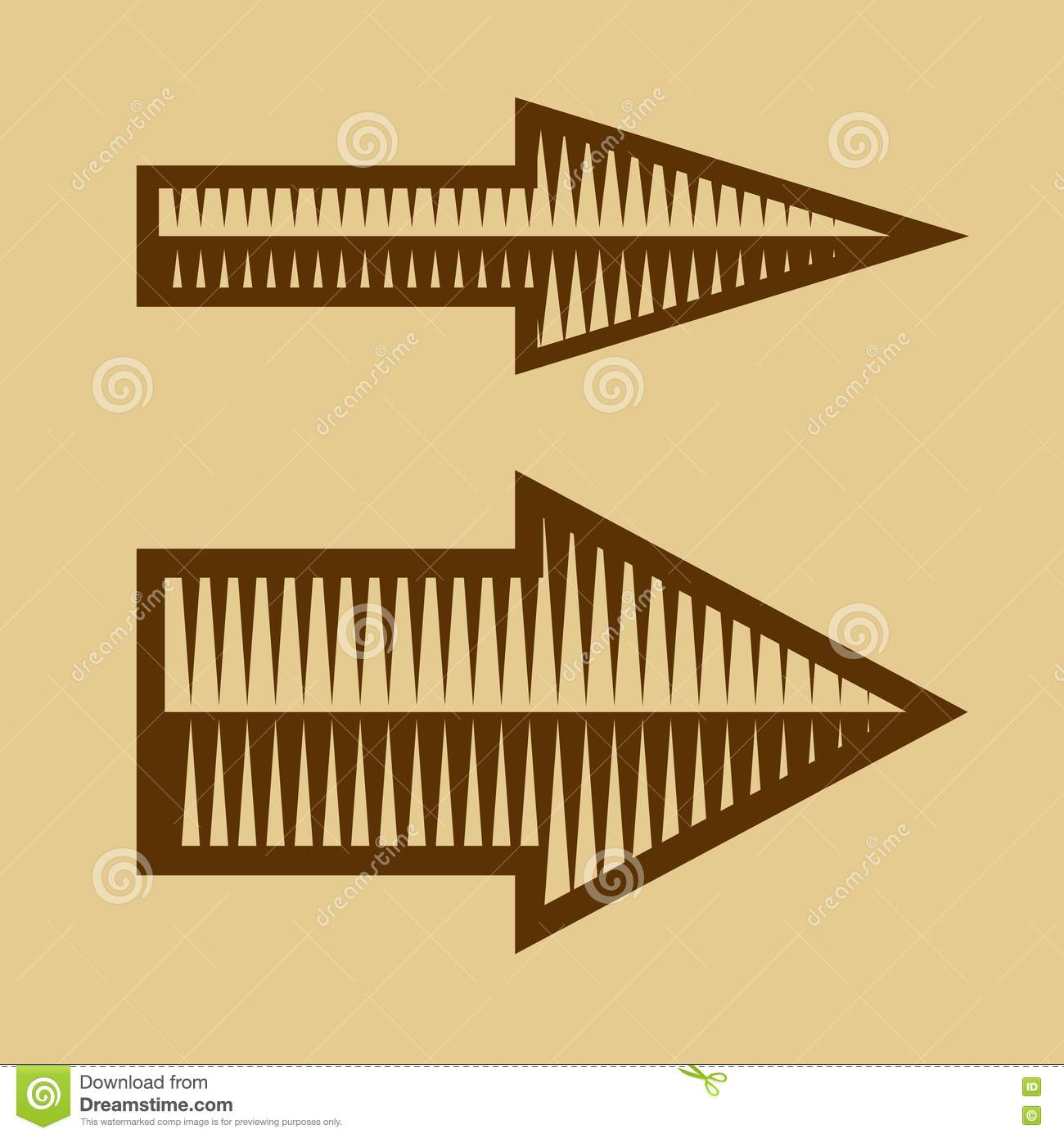 Set Of Trendy Vintage Arrows On Old Paper Vector Stock
