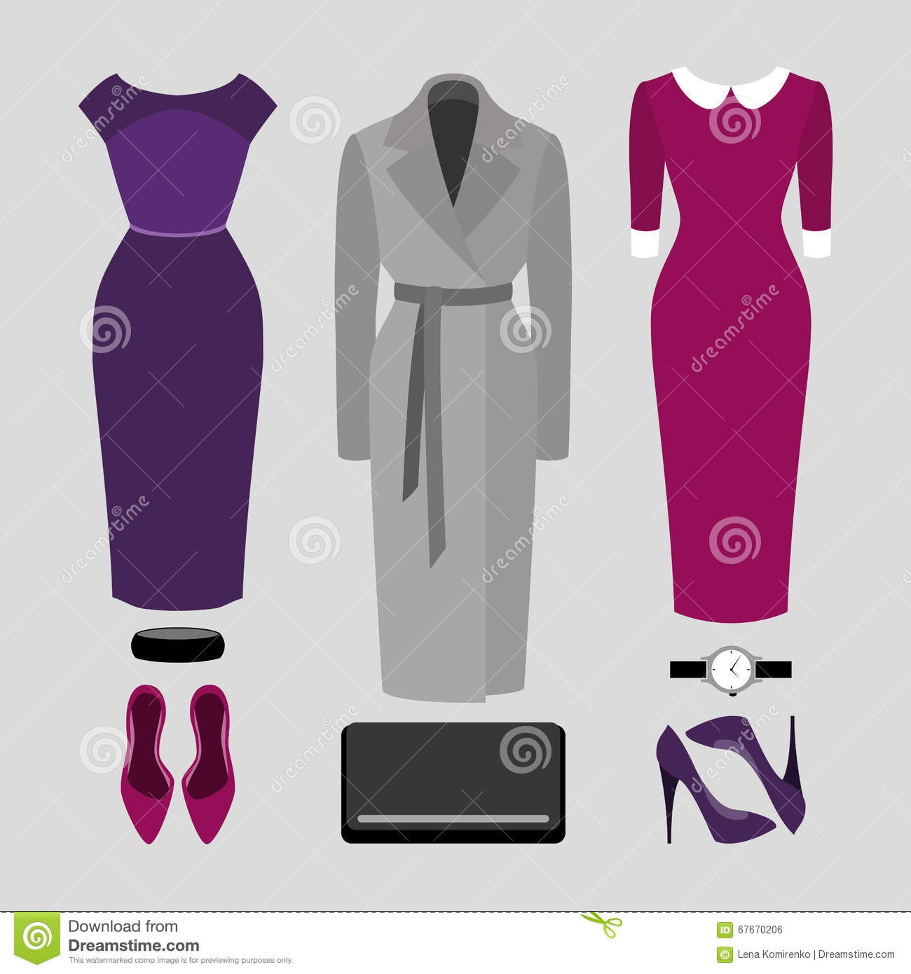 4ae11a9a856a9 Set of trendy women s clothes. Outfit of woman coat, dress and accessories.
