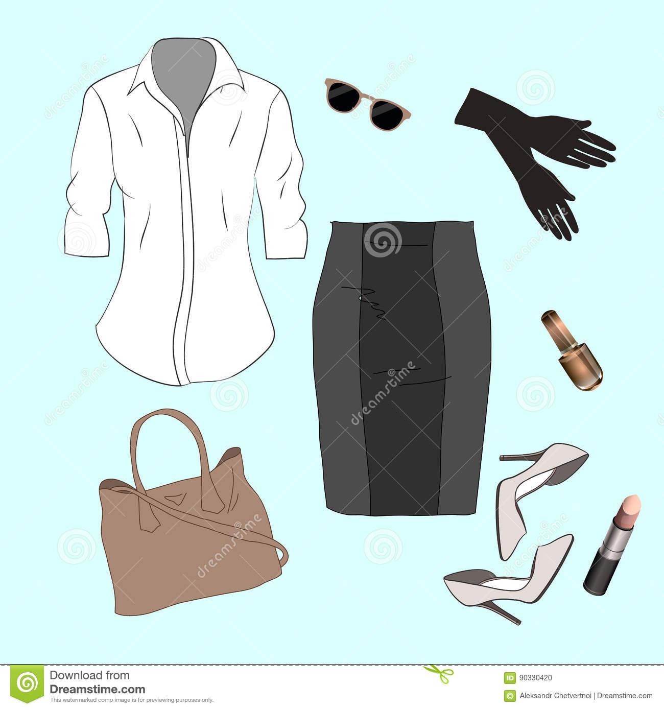6247d09a17033 Set Of Trendy Women`s Clothes. Outfit Of Woman Jacket, Stock ...