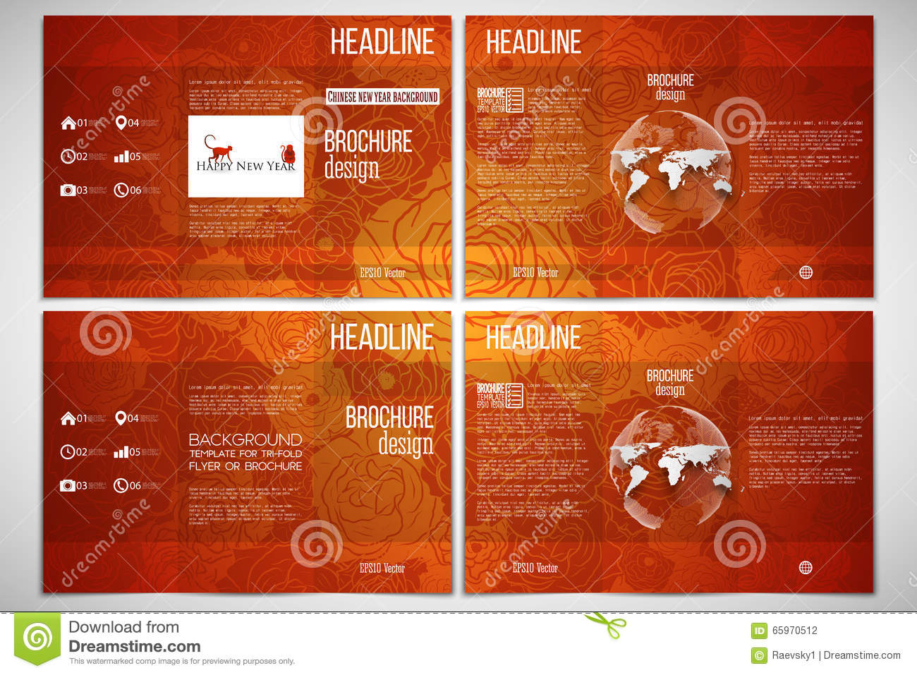 set of tri fold brochure template on both sides chinese new year background