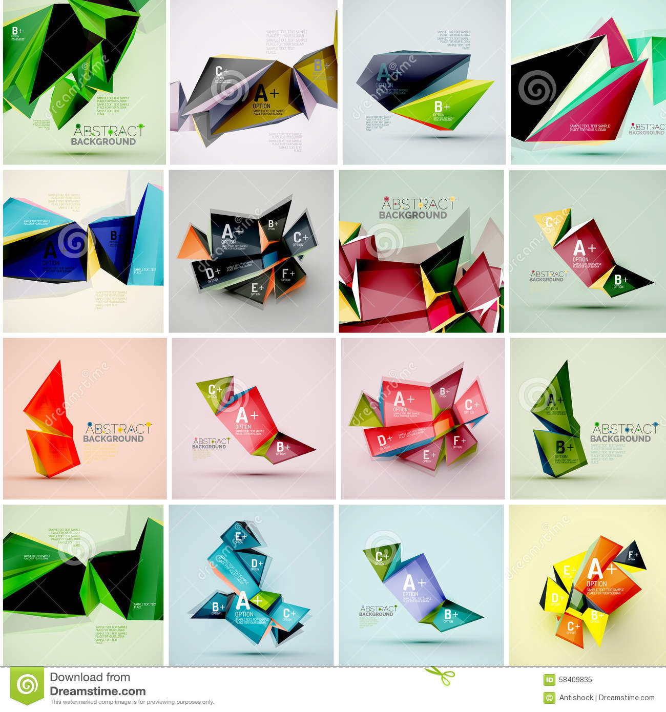 Set Of Triangle Geometric 3d Forms. Modern Info Stock ...