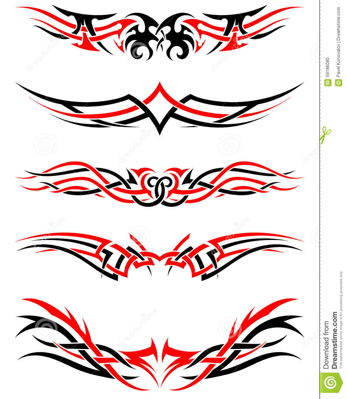 Set Of Tribal Tattoos Stock Vector Illustration Of Abstract 59186080