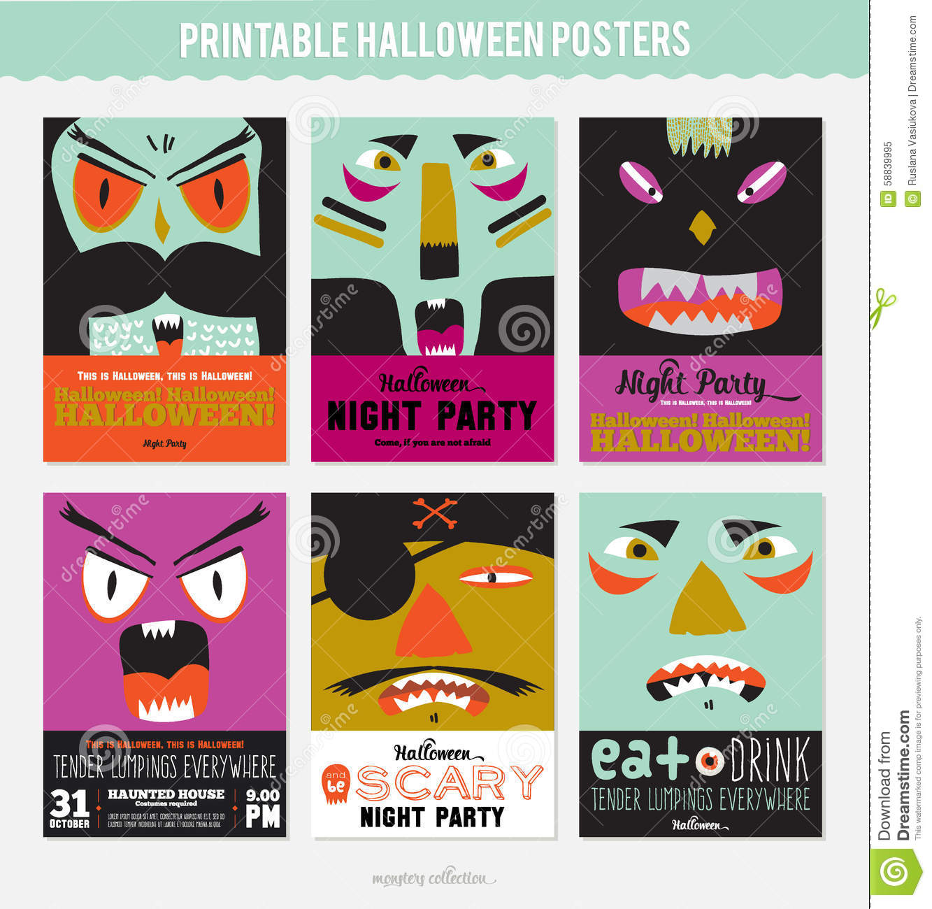 set trick or treat poster cards and stickers stock vector