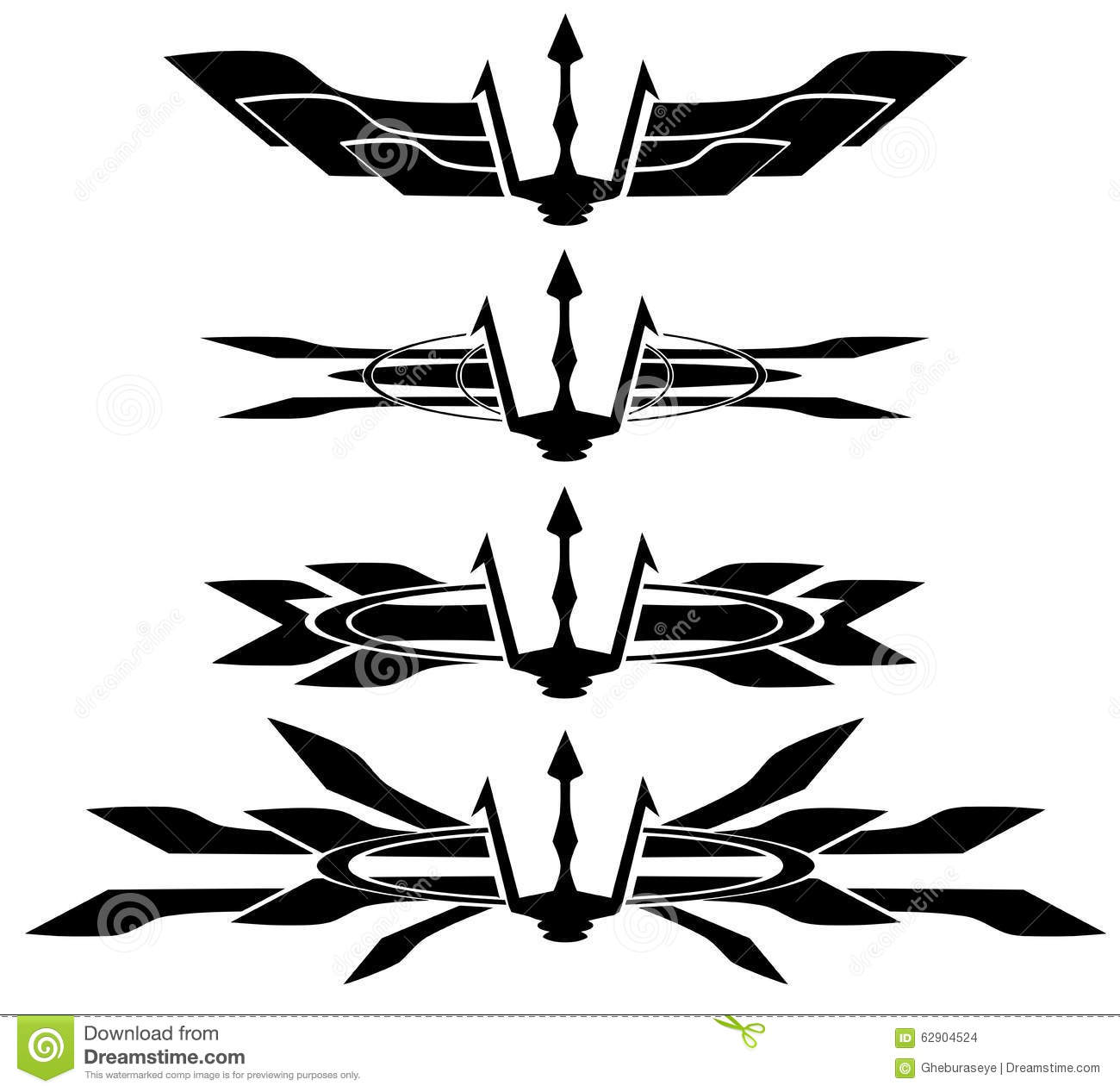 Set Of Trident Tattoo In Black Isolated Stock Vector Image 62904524