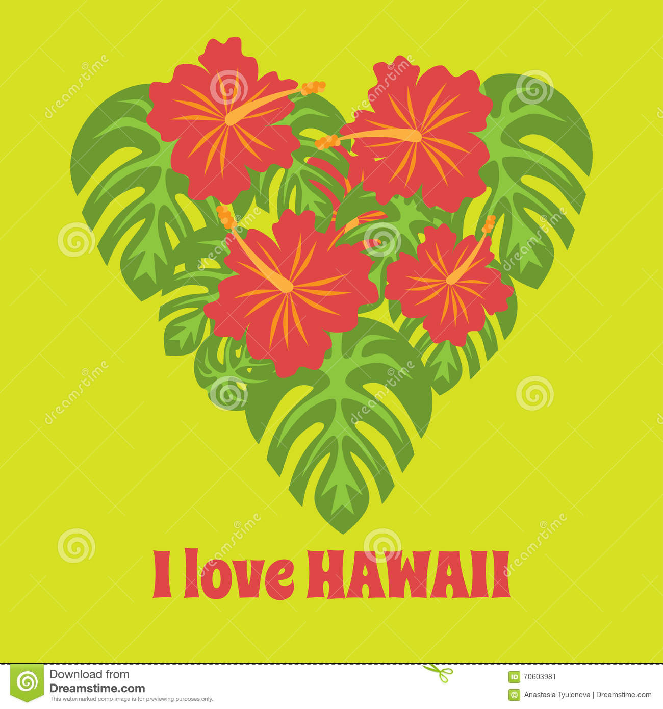 Set of tropical palm leaves and flowers hibiscus flower hawaii in set of tropical palm leaves and flowers hibiscus flower hawaii in heart shape exotic summer izmirmasajfo