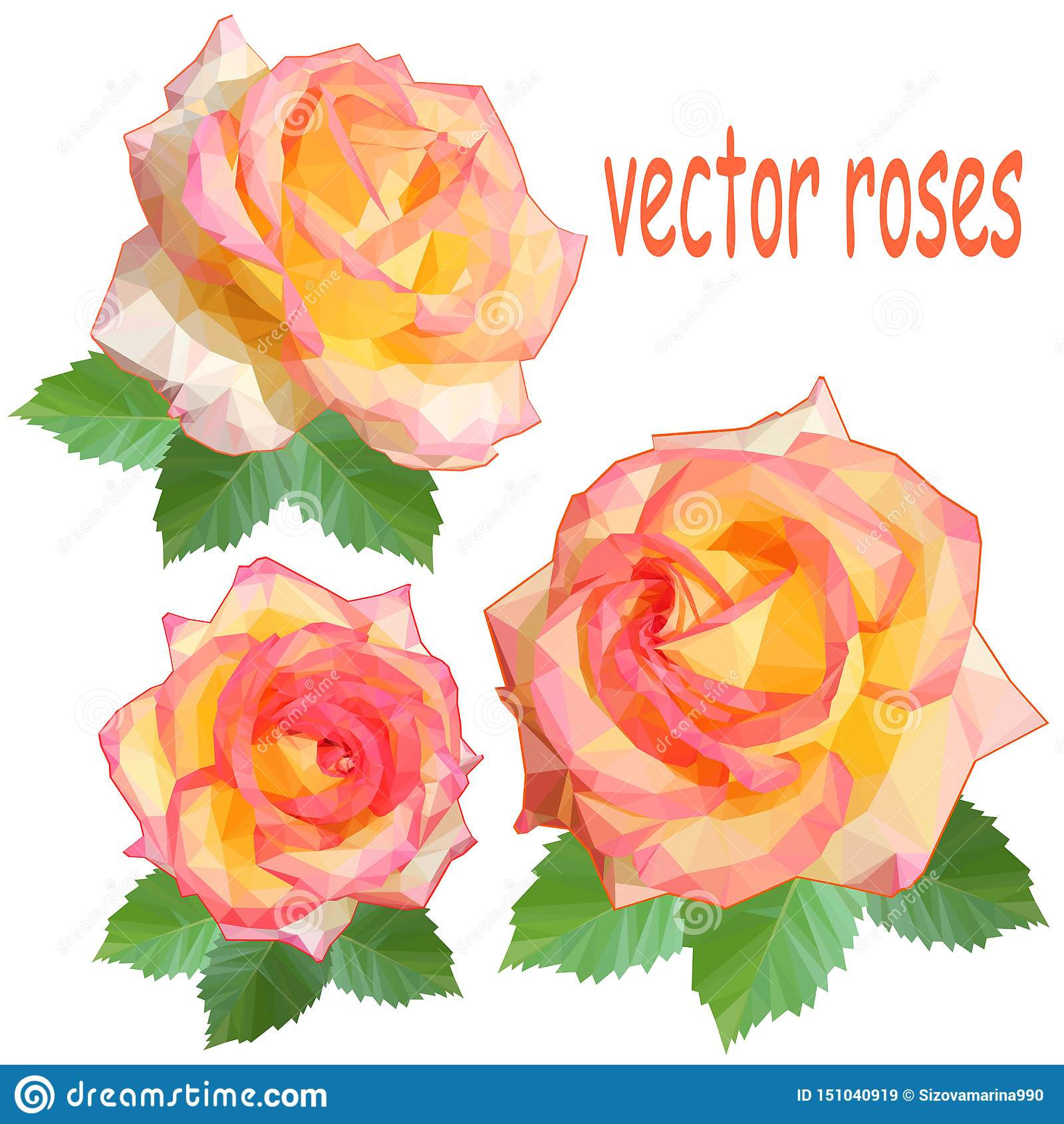 Set trzy ikony delikatne róże z liśćmi w niskim poli- stylu na białym tle