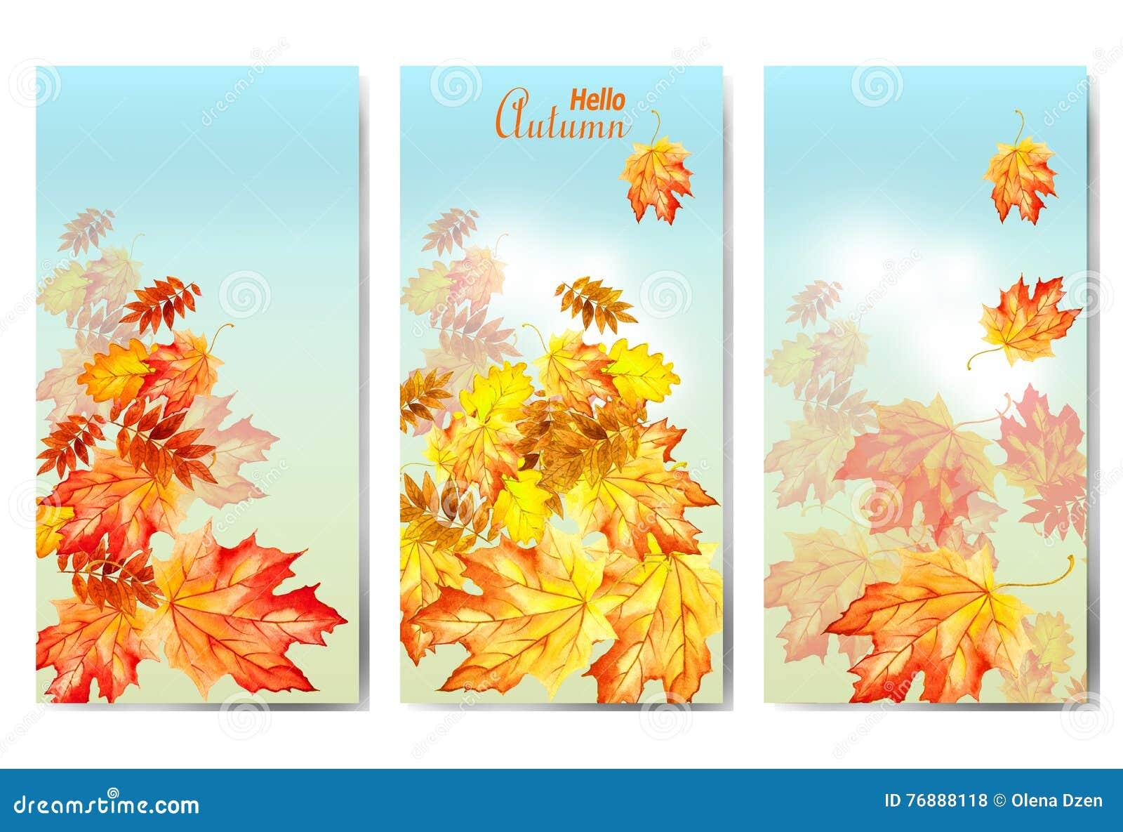 Set trzy sztandaru z kolorowymi jesień liśćmi