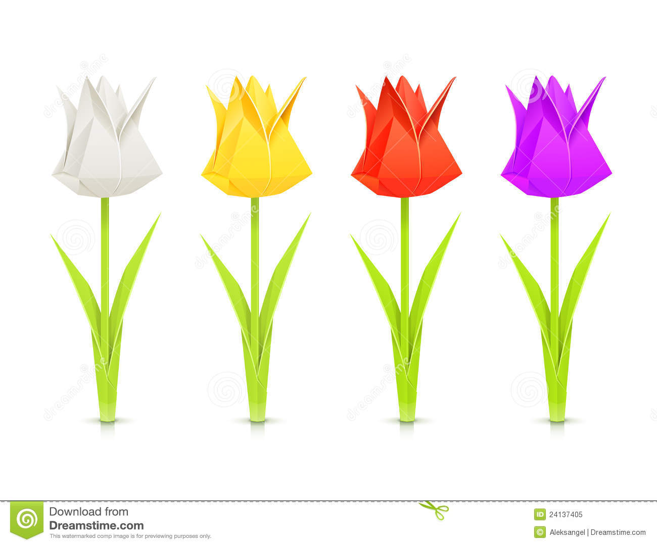 Set Of Tulips Paper Origami Flowers Stock Vector Illustration Of