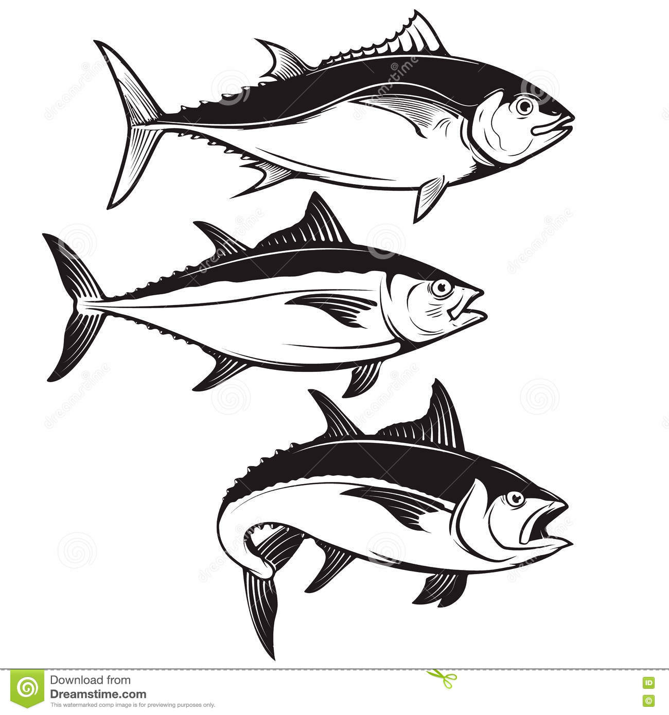 set of tuna fish icons isolated on white background