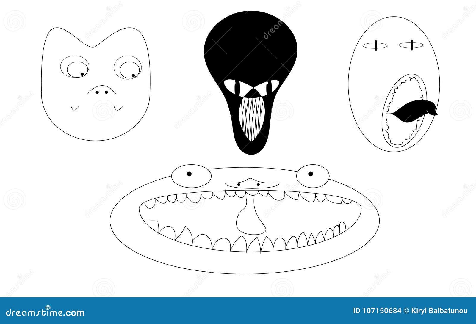 Set 4 twarzy czarny i biały potwory obcy