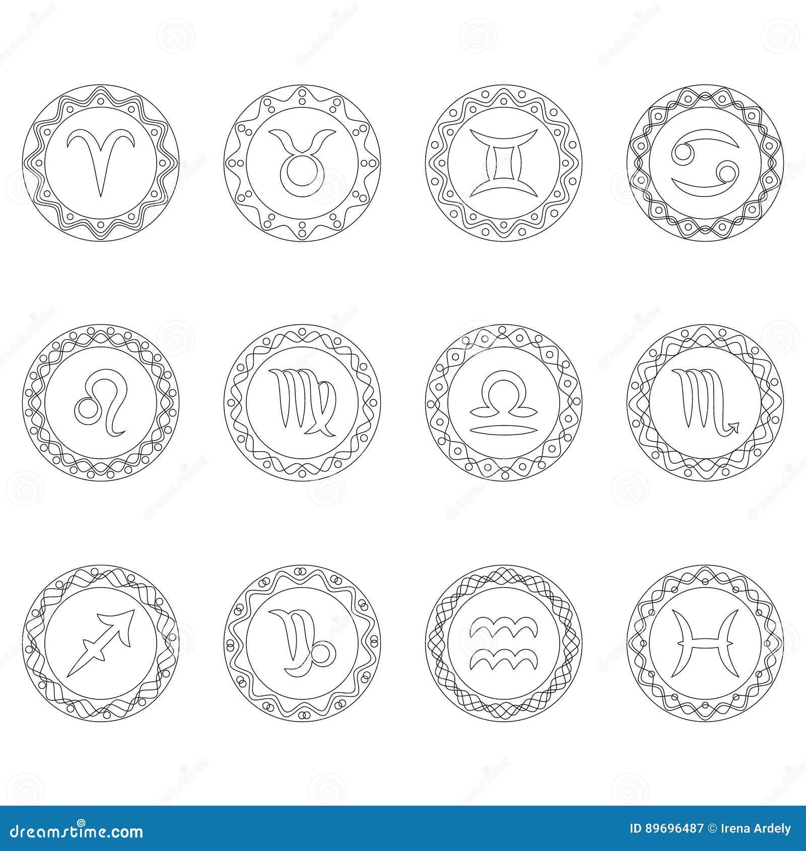 set twelve signs of zodiac symbols in round frames black and