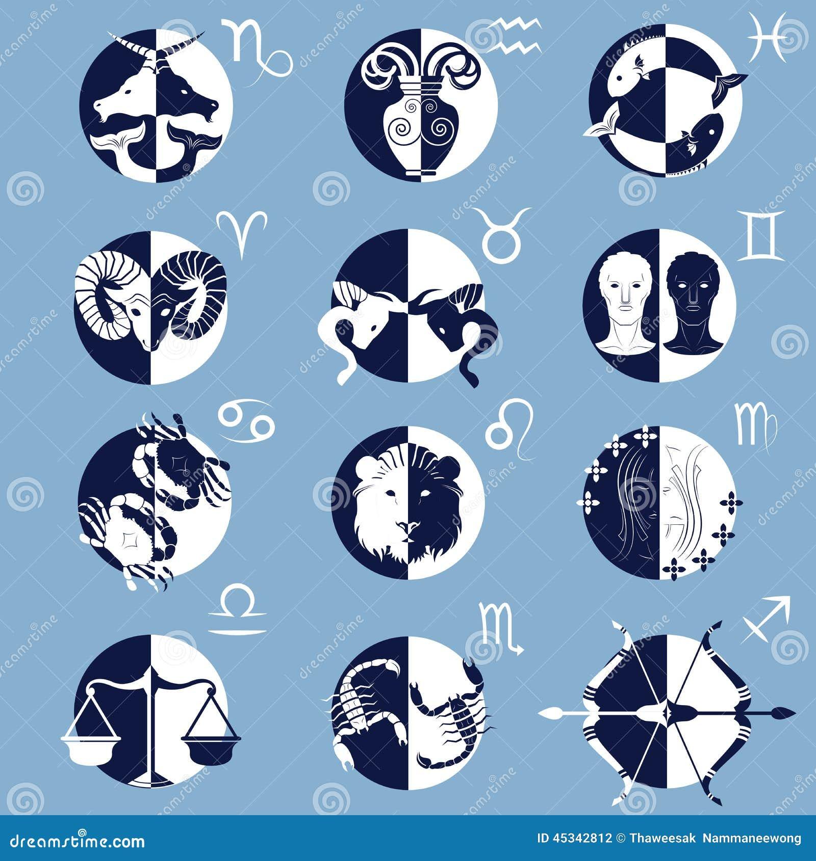 Set Of Twelve Zodiac Horoscope Signs And Symbols Stock Vector
