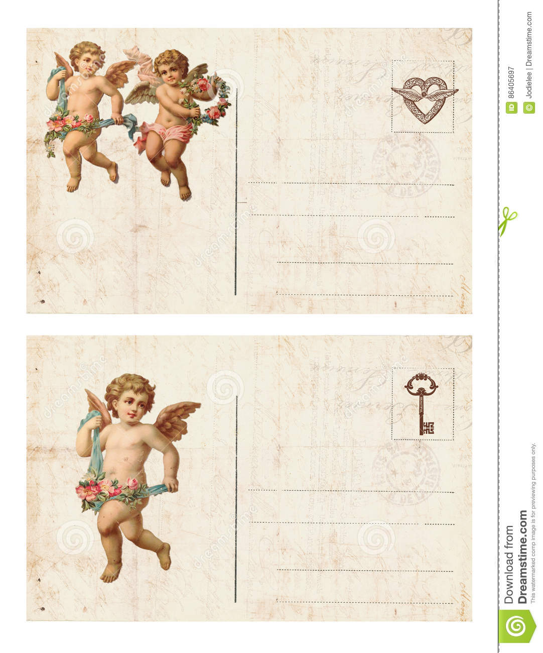 Set of two Antique style valentine`s postcard featuring cupid and heart