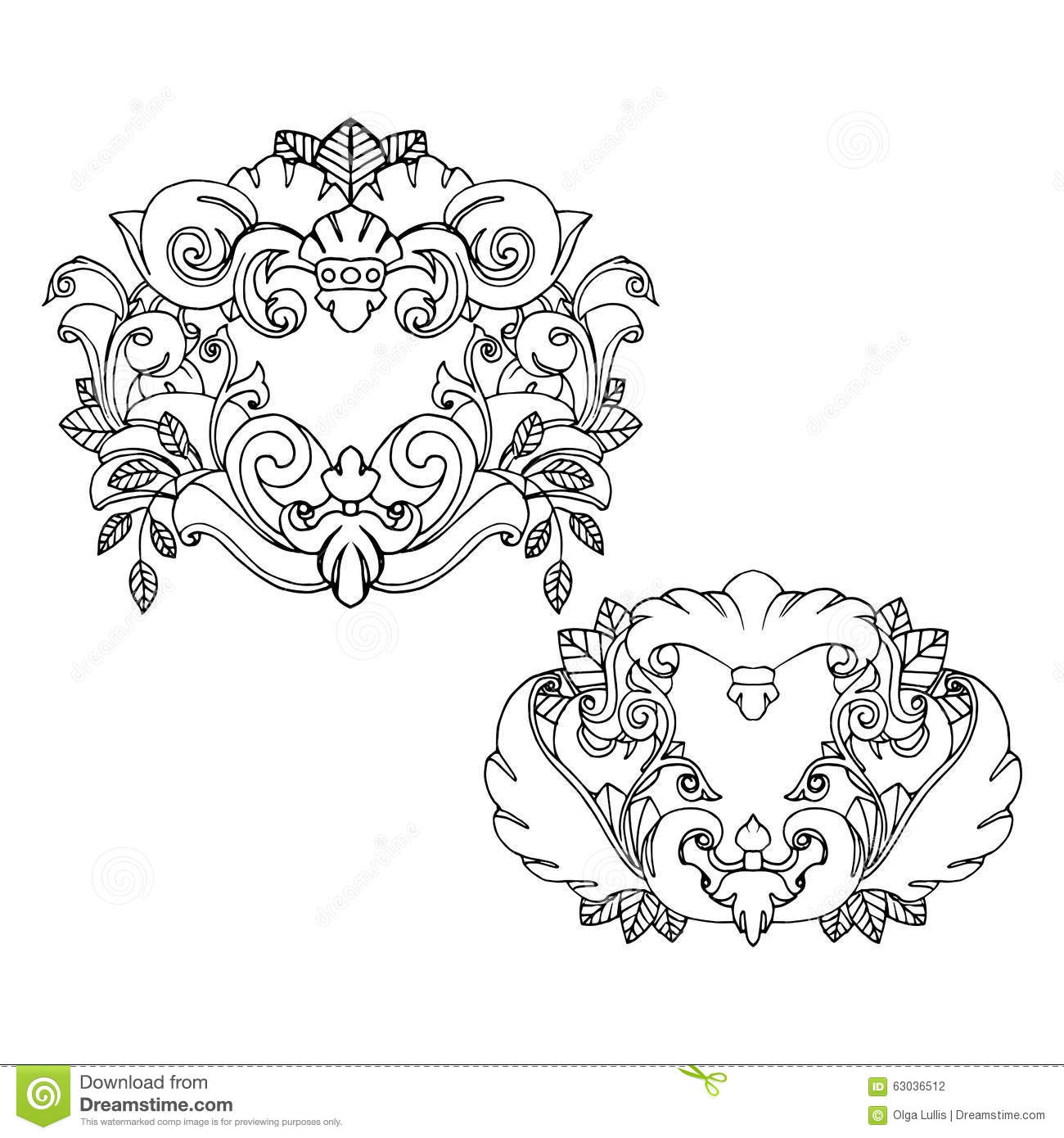 Set Of Two Beautiful Tattoo Frames Stock Vector - Illustration of ...