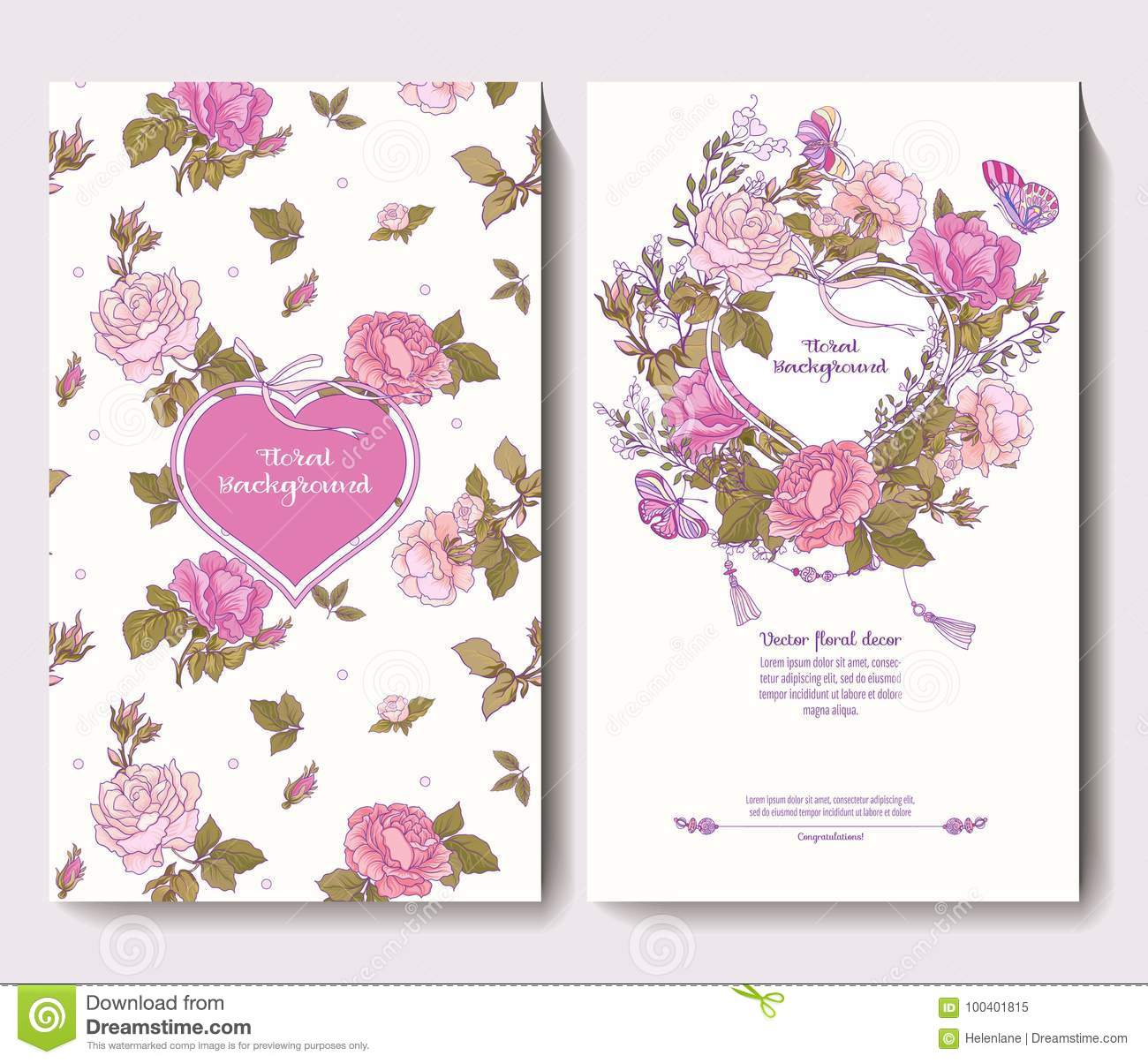 Set Of Two Cards For Wedding Invitation Birthday With Rose Stock ...