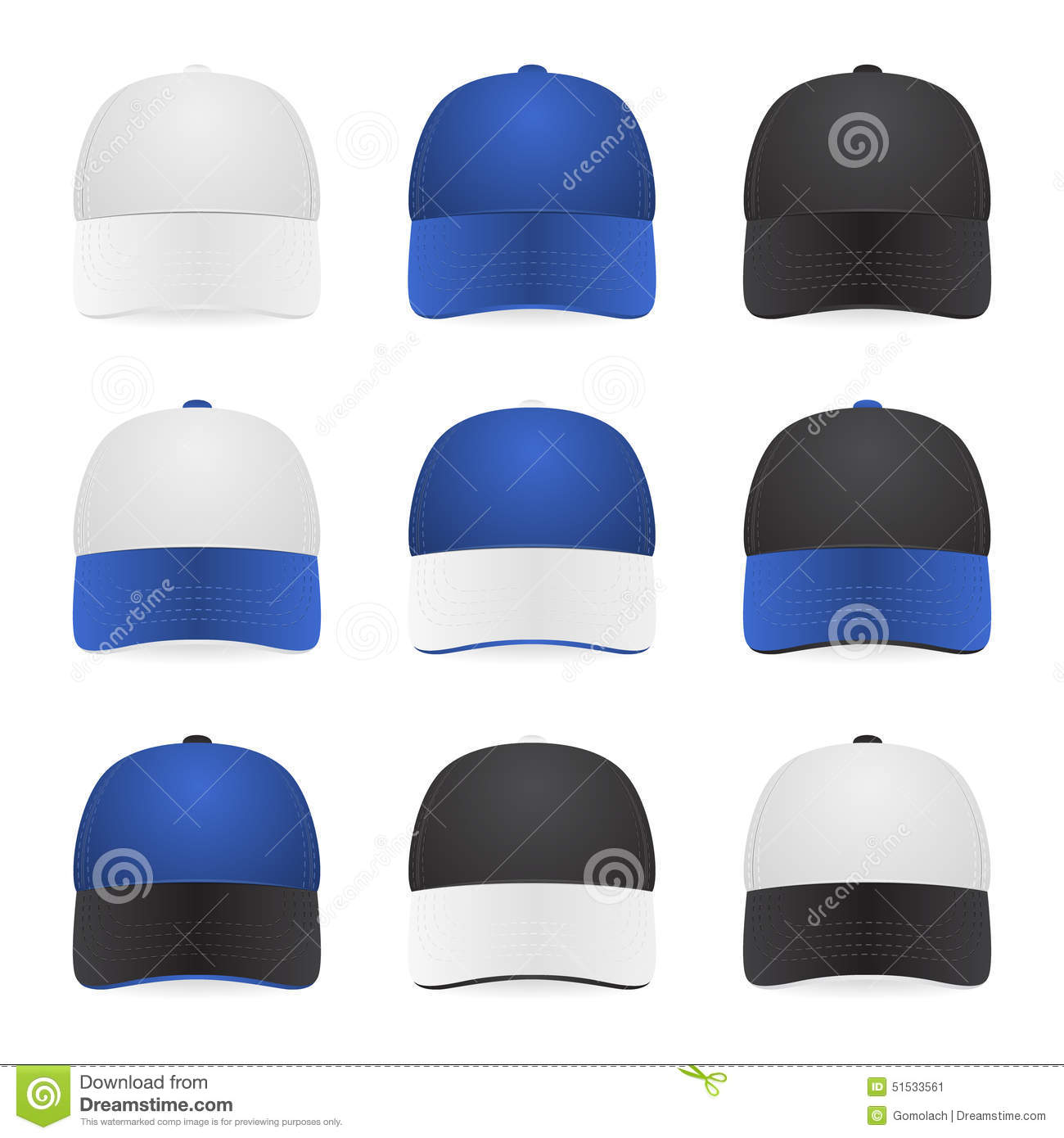 Set of two-color caps stock vector. Illustration of male - 51533561 e0ce777c85d