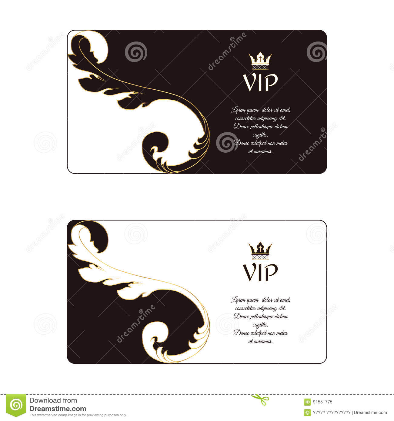 Set Of Two Elegant Horizontal Business Cards In Victorian Style ...