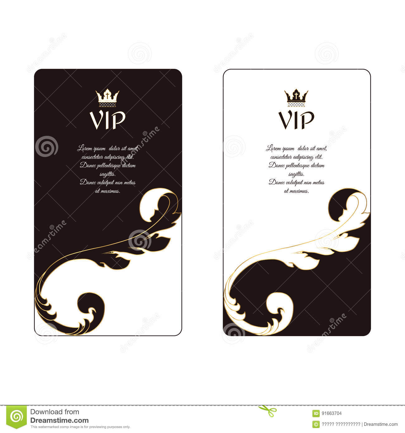 Set Of Two Elegant Vertical Business Cards In Victorian Style White ...