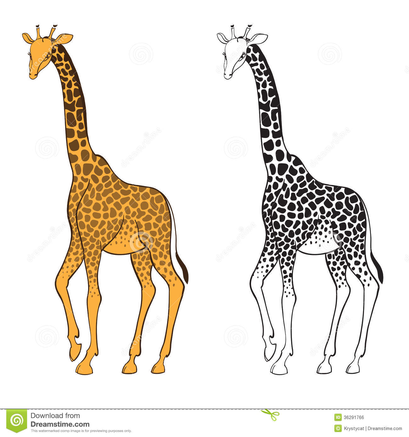 Set Of Two Giraffes. Wall Stickers Royalty Free Stock Image - Image ...