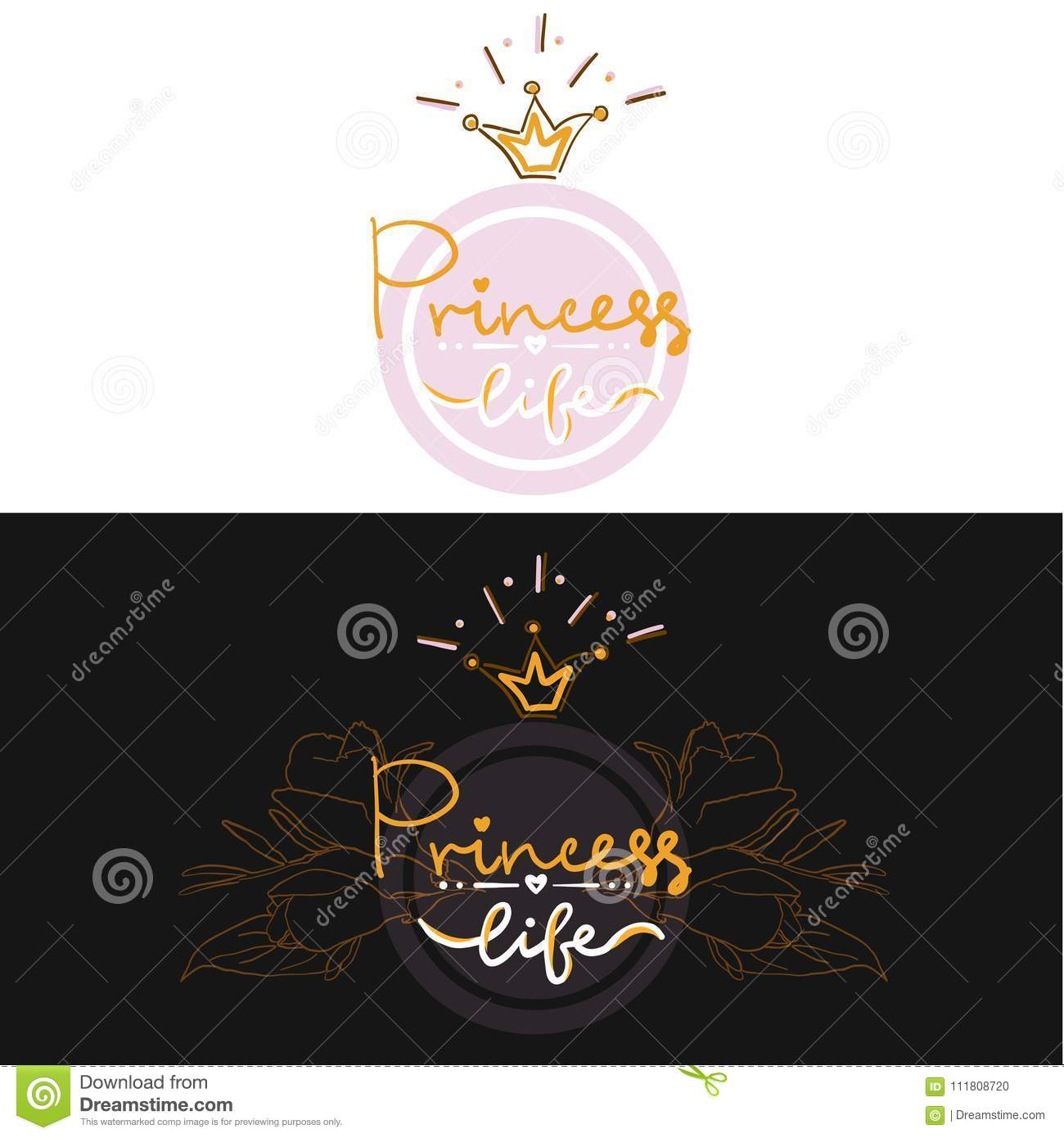 set of two girl color logo projekt lettering, party birthday card