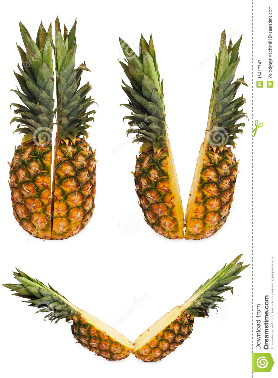 Set of Two halves of pineapple