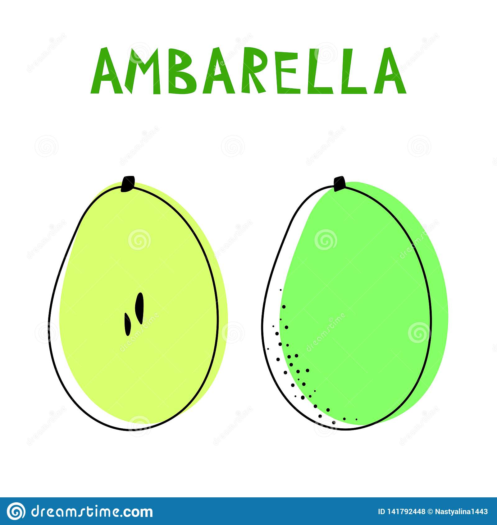 Set of two isolated ambarellas. Vector drawing of rare topucal exotic fruit - ambarella. Spondias dulcis, mombin, pomme cythere.